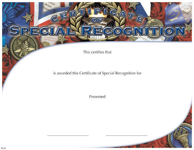 certificate of special recognition wilson awards